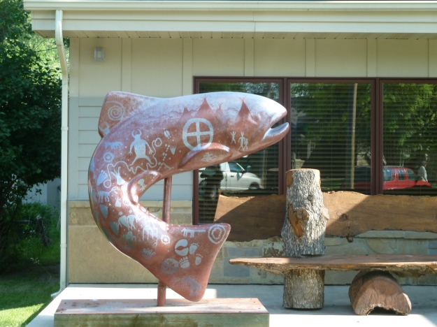 All around town they have these uniquely painted trout.  Similar to the cows in Chicago
