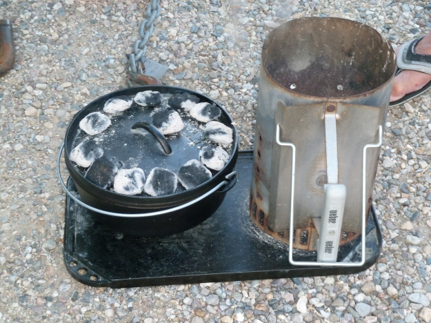 Cooking method with the dutch oven.  You create an oven environment with charcoals.
