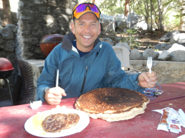 Joe enjoying Breakfast. Notice the size of the Pancake.