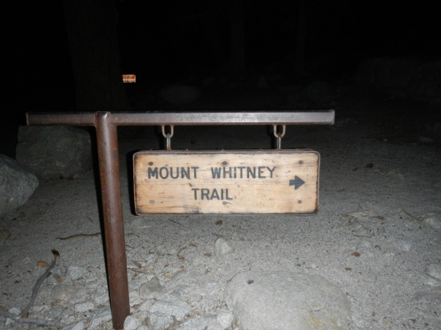 Trail sign at the Mt Whitney Portal.
